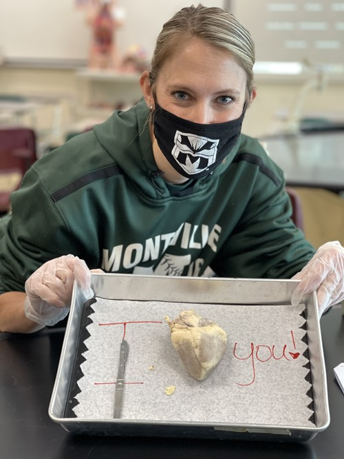 Students in the Anatomy & Physiology Class at Montville Township High School dissected a sheep's heart on Friday, February 12, 2021. Students participated in the dissection both virtually and in-person.