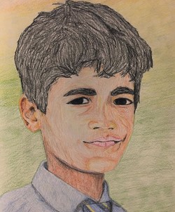 Frederick Blake, a senior at Montville Township High School painted this portrait for a child in Pakistan. The Memory Project arranges gifts of portraits to share kindness and build self-esteem for children around the world.