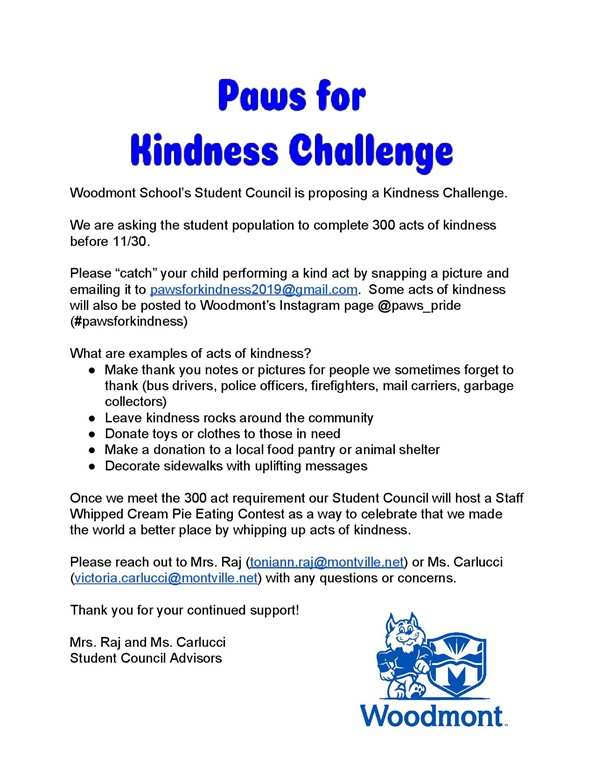 information about the 2019 Paws for Kindness Challenge